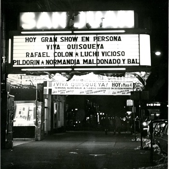 "San Juan Theater Marquee for ""Viva Quisqueya"" Event, 1968"