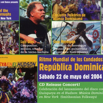 Event flyer, Quisqueya on the Hudson CD release concert featuring Doña Chicha, Luis Dias, and Coco Merenson, May 22, 2004