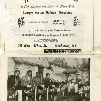 Happy Hills Casino Flyer featuring the Dominican band Víctor Saviñón y sus Negritos Santos with Dominican singer Camboy Estevez, ca. 1970s