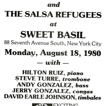 Mario Rivera and The Salsa Refugees Performance Flyer, August 18, 1980