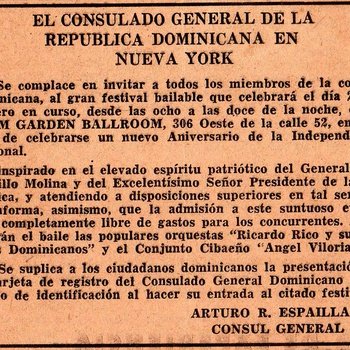 Announcement for Dominican Independence Day Celebration, Palm Garden Ballroom, February 27, 1957