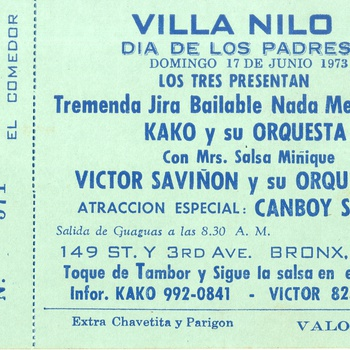 Concert Ticket for Father's Day Celebration at Villa Nilo, featuring Víctor Saviñón y su Orchestra and Camboy Estevez, June 17, 1973