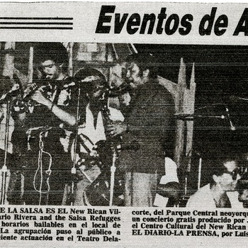 Mario Rivera and the Salsa Refugees at the New Rican Village, newspaper clipping, July 21,1978