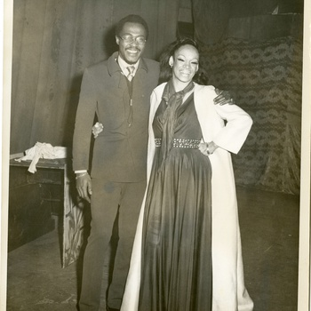 Víctor Saviñón with La Lupe after a performance at the San Juan Theater, ca. 1970s