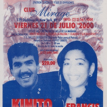 Grand Celebration in honor of the Patron Santiago Apostle and its 21 Division handbill featuring Kinito Méndez and Francis La Palera, July 21, 2000