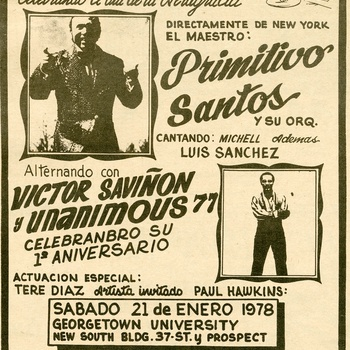 Event announcement in Latino newspaper featuring Primitivo Santos and Víctor Saviñón orchestras in Washington, D.C., 1978