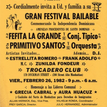 Grand Dancing Festival in honor of the Dominican Independence Flyer, February 26, 1982