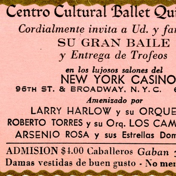 Centro Cultural Ballet Quisqueya Grand Dance Ticket, December 2, 1977