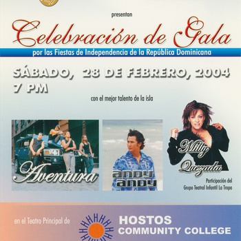 Gala Celebration for Dominican Independence Promotional Postcard, Hostos Community College, Bronx, New York, February 28, 2004