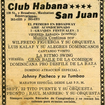 Advertisement of Dance organized by the Dominican Committee Pro Hispanic Day Parade, Club Habana San Juan, September 20, 1967