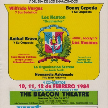 Sixth Annual Merengue Carnival Flyer, The Beacon Theater, February 10-12, 1984