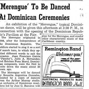 Announcement of Dominican Republic's Pavilion Opening, May 20, 1939