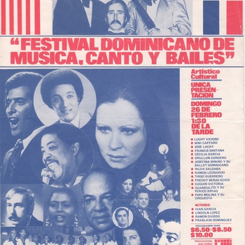Dominican Festival of Music, Song, and Dance Flyer, February 26, 1978