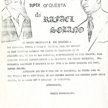 Farewell concert to the Super Orchestra of Rafael Solano Flyer, September 13, ca. 1970s