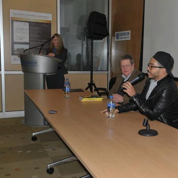 "From left to right: Dr. Julie A. Sellers, Dr. Jerry W. Carlson, and music producer Pedro ""sP"" Polanco during the ""panel discussion"" Conversations in Dominican Music: Bachata in the United States at the CUNY Dominican Studies Institute Archives and Library"
