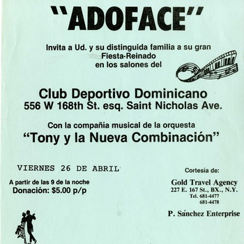 Club Deportivo Dominicano, Flyer, ca. 1980s