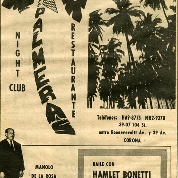 Las Palmeras Night Club and Restaurant Advertisement, ca. 1960s